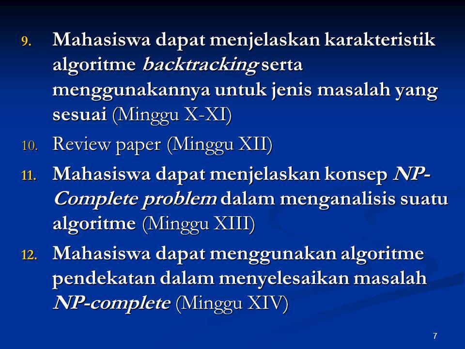 Mahasiswa dapat menjelaskan karakteristik algoritme backtracking serta menggunakannya untuk jenis masalah yang sesuai (Minggu X-XI)