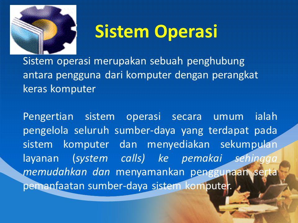 Sistem Operasi Sistem operasi merupakan sebuah penghubung antara pengguna dari komputer dengan perangkat keras komputer.