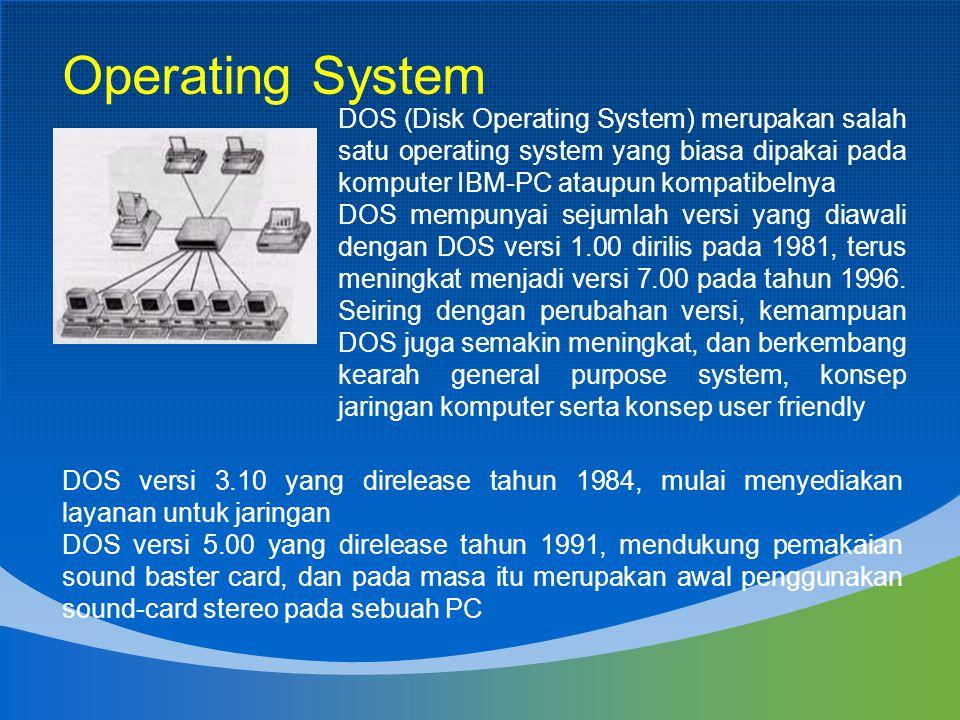 Operating System DOS (Disk Operating System) merupakan salah satu operating system yang biasa dipakai pada komputer IBM-PC ataupun kompatibelnya.