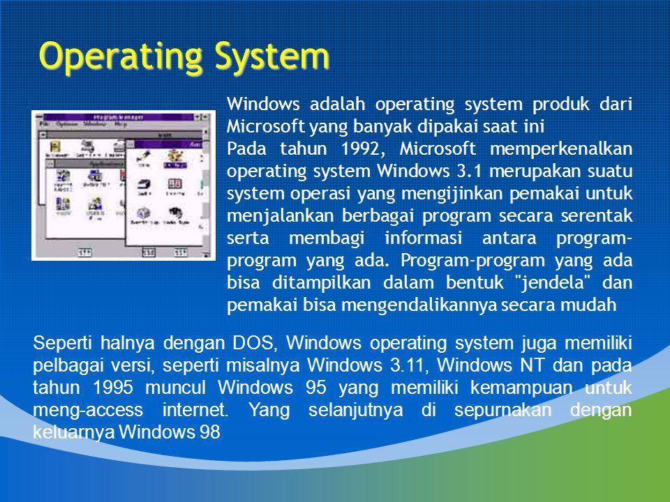 Operating System Windows adalah operating system produk dari Microsoft yang banyak dipakai saat ini.