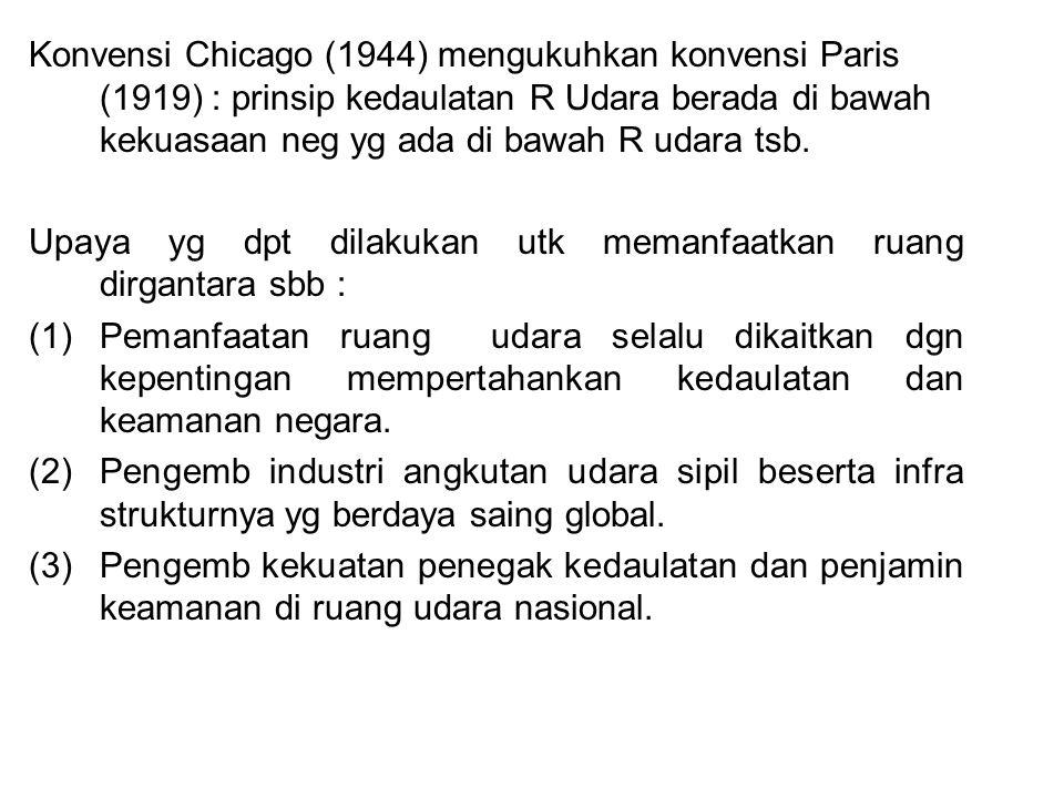 Konvensi Chicago (1944) mengukuhkan konvensi Paris (1919) : prinsip kedaulatan R Udara berada di bawah kekuasaan neg yg ada di bawah R udara tsb.