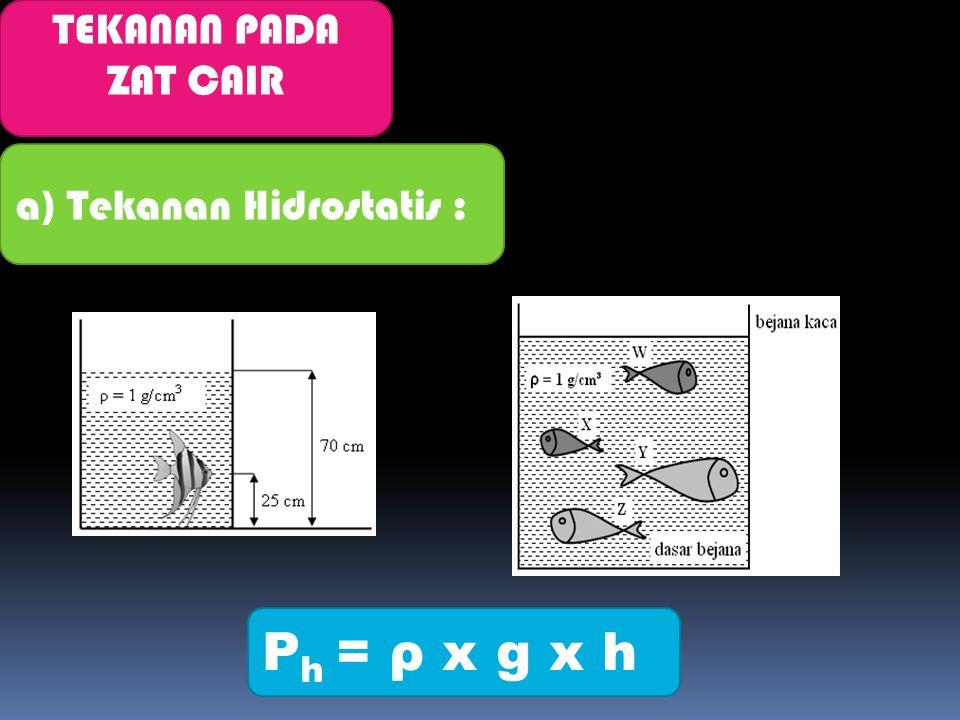 TEKANAN PADA ZAT CAIR a) Tekanan Hidrostatis : Ph = ρ x g x h