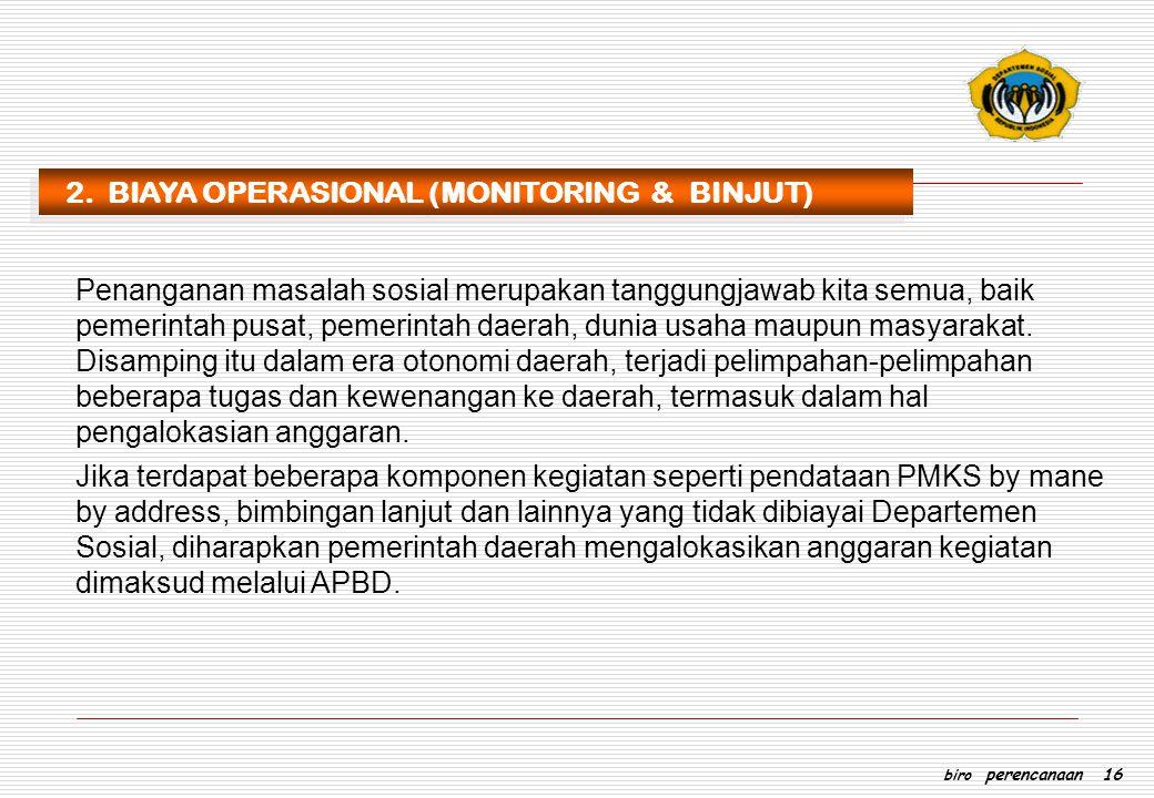 2. BIAYA OPERASIONAL (MONITORING & BINJUT)
