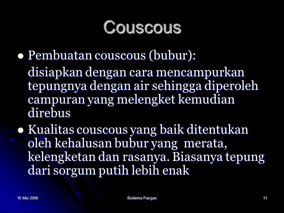 Couscous Pembuatan couscous (bubur):