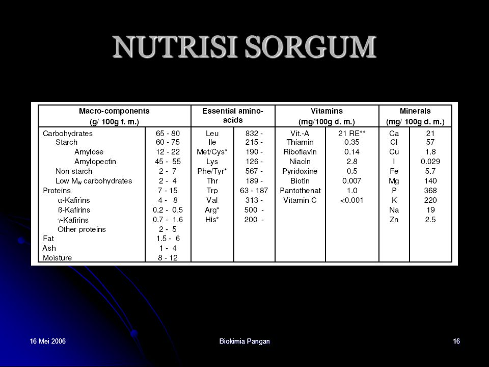 NUTRISI SORGUM 16 Mei 2006 Biokimia Pangan