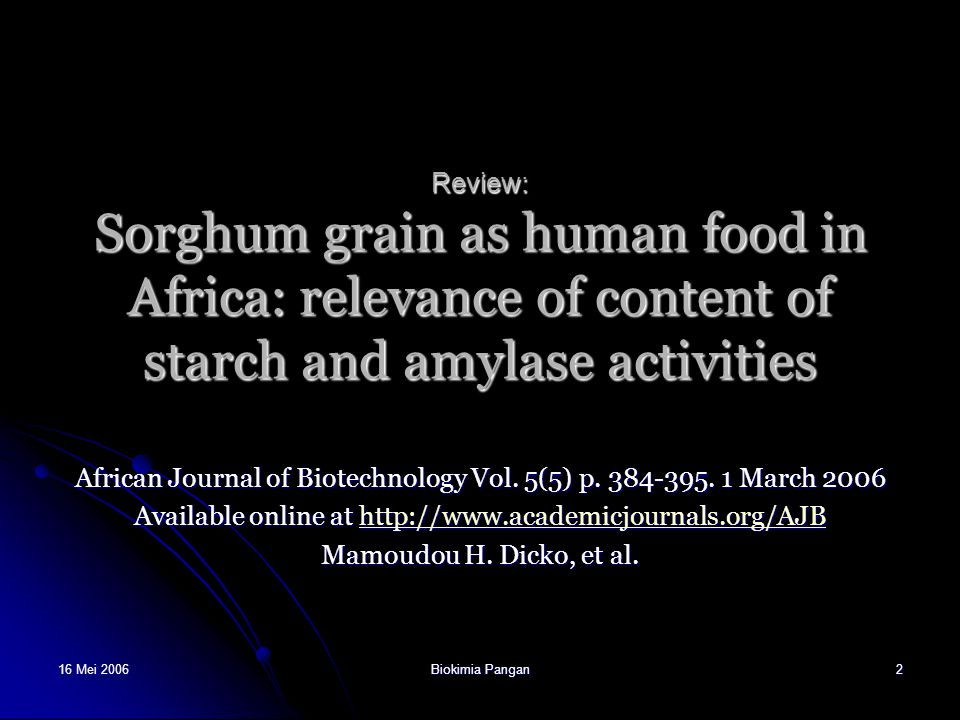 African Journal of Biotechnology Vol. 5(5) p. 384-395. 1 March 2006