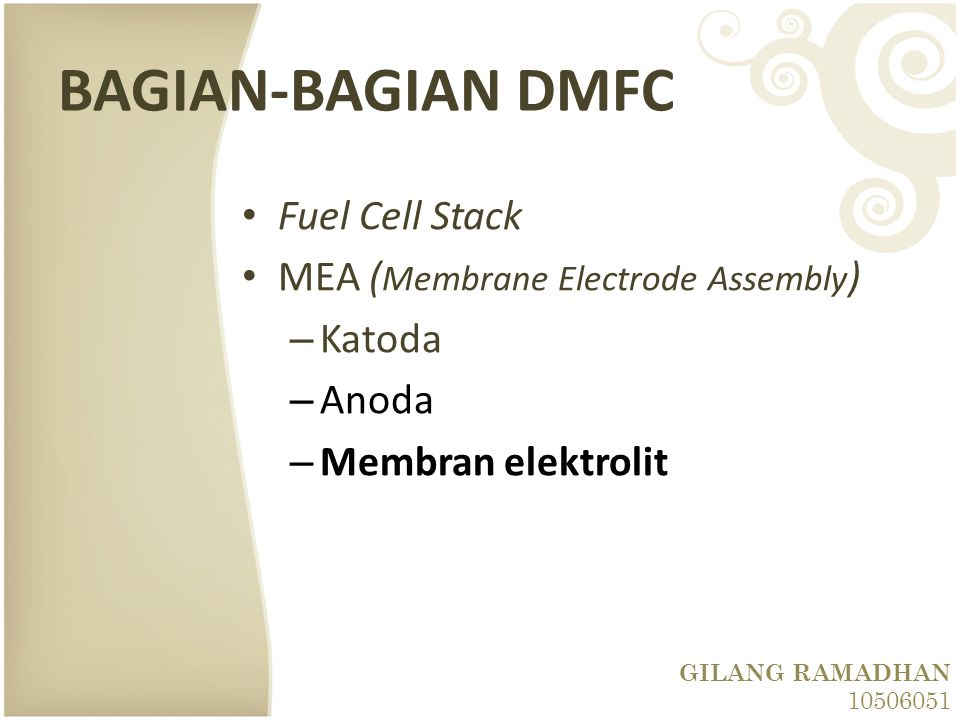 BAGIAN-BAGIAN DMFC Fuel Cell Stack MEA (Membrane Electrode Assembly)