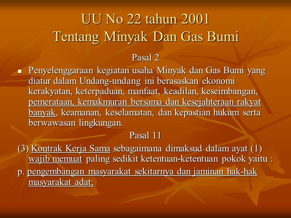 UU No 22 tahun 2001 Tentang Minyak Dan Gas Bumi