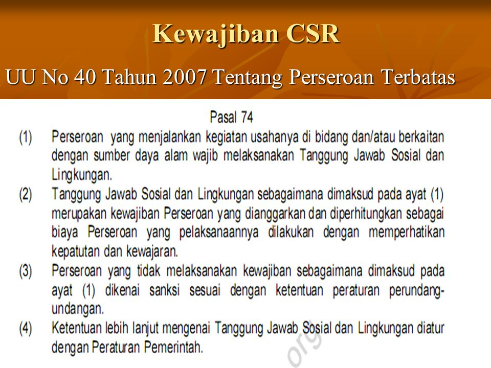 Kewajiban CSR UU No 40 Tahun 2007 Tentang Perseroan Terbatas