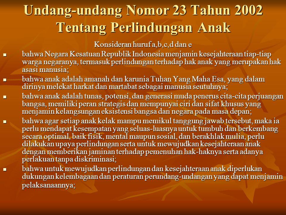 Undang-undang Nomor 23 Tahun 2002 Tentang Perlindungan Anak
