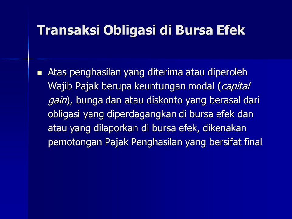 Transaksi Obligasi di Bursa Efek