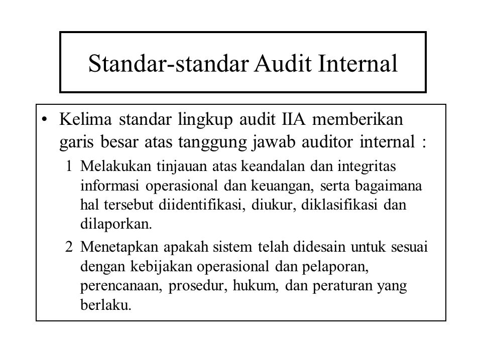 Standar-standar Audit Internal