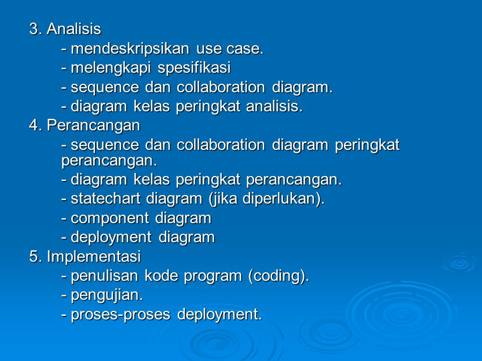 3. Analisis - mendeskripsikan use case. - melengkapi spesifikasi. - sequence dan collaboration diagram.