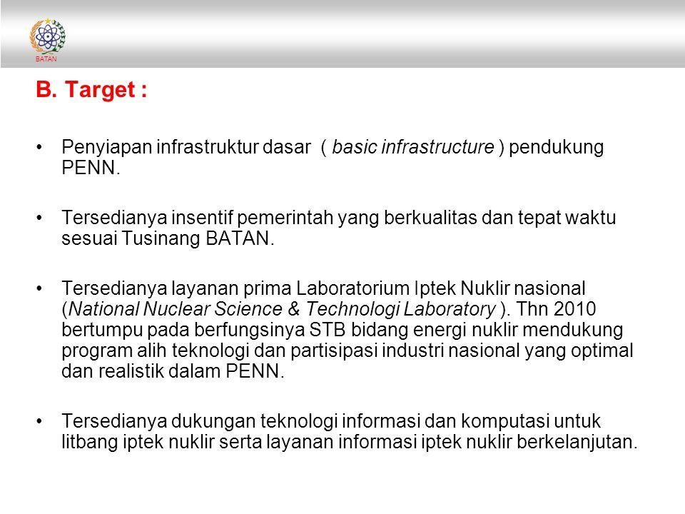 B. Target : Penyiapan infrastruktur dasar ( basic infrastructure ) pendukung PENN.
