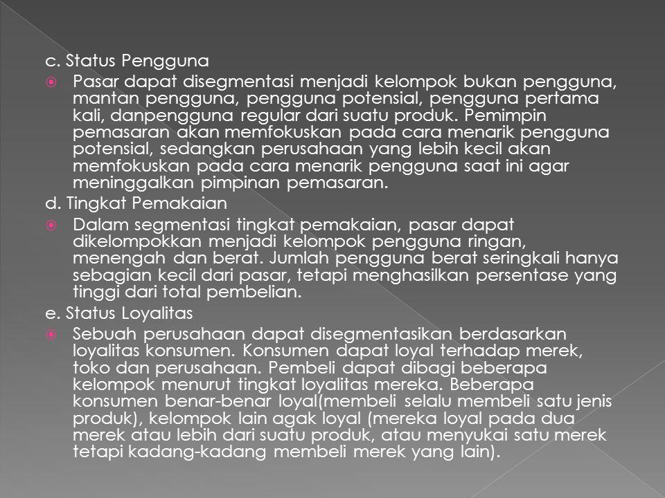 c. Status Pengguna