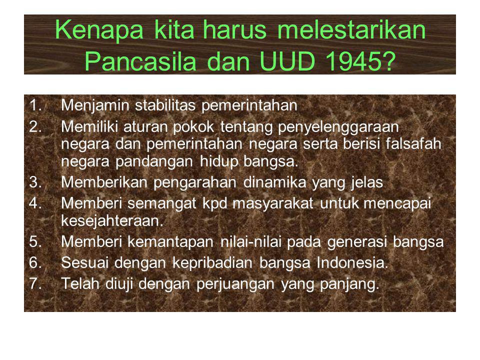 Kenapa kita harus melestarikan Pancasila dan UUD 1945