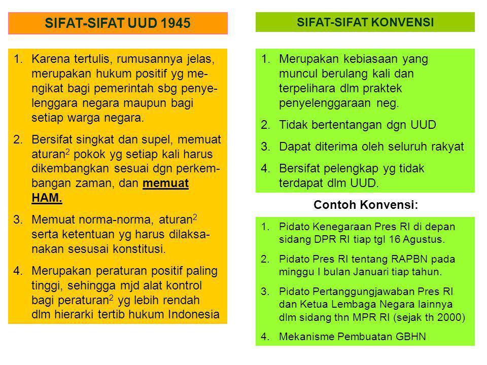 SIFAT-SIFAT UUD 1945 SIFAT-SIFAT KONVENSI