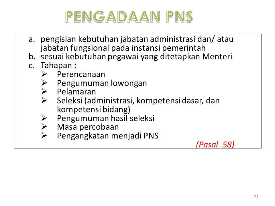 PENGADAAN PNS pengisian kebutuhan jabatan administrasi dan/ atau jabatan fungsional pada instansi pemerintah.