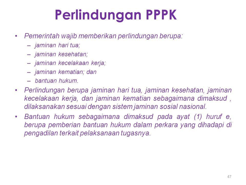 Perlindungan PPPK Pemerintah wajib memberikan perlindungan berupa: