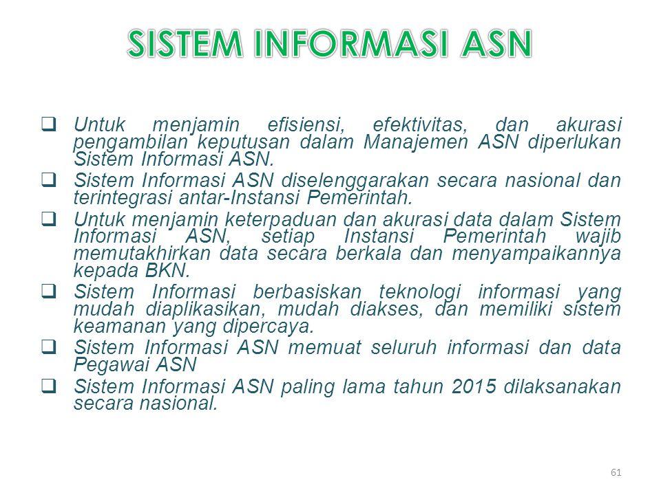 SISTEM INFORMASI ASN Untuk menjamin efisiensi, efektivitas, dan akurasi pengambilan keputusan dalam Manajemen ASN diperlukan Sistem Informasi ASN.