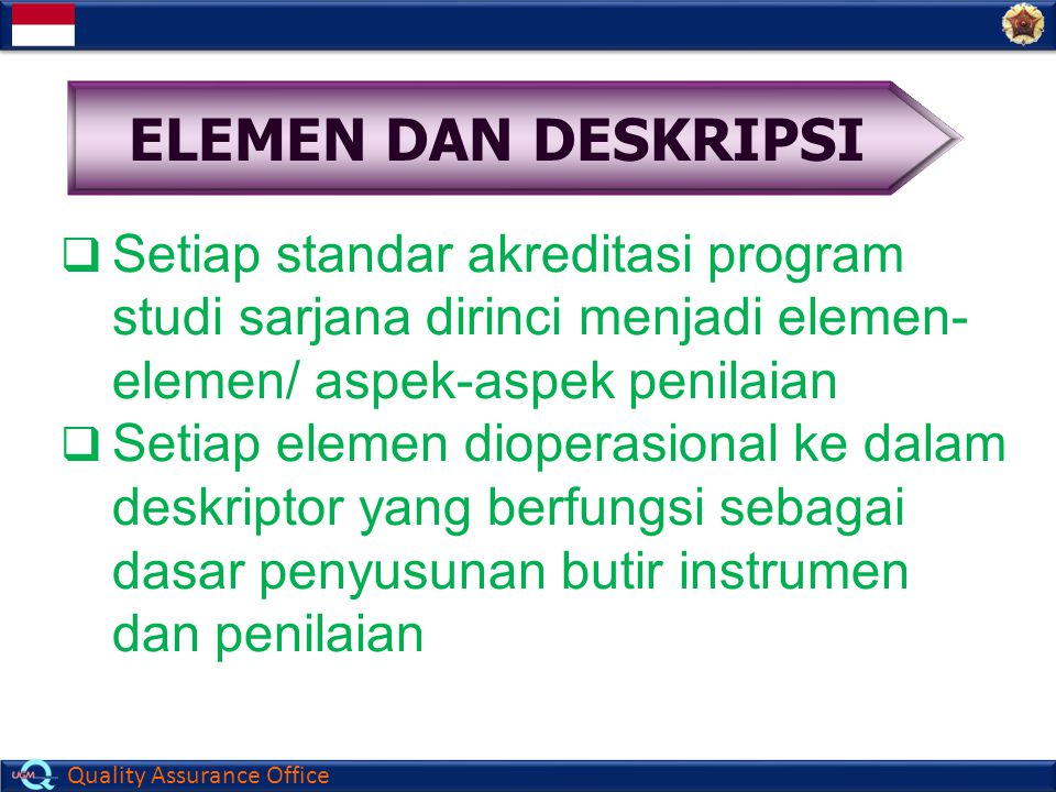 ELEMEN DAN DESKRIPSI Setiap standar akreditasi program studi sarjana dirinci menjadi elemen-elemen/ aspek-aspek penilaian.