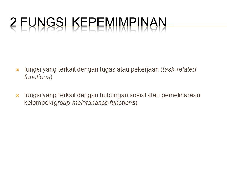 2 Fungsi Kepemimpinan fungsi yang terkait dengan tugas atau pekerjaan (task-related functions)