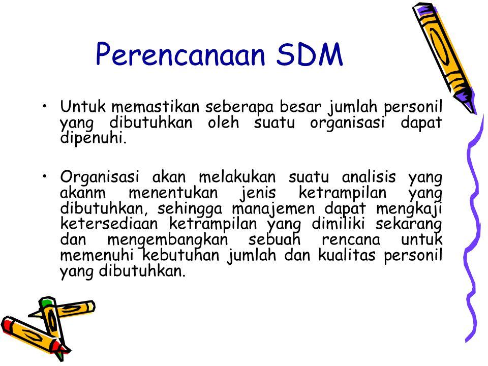 Perencanaan SDM Untuk memastikan seberapa besar jumlah personil yang dibutuhkan oleh suatu organisasi dapat dipenuhi.