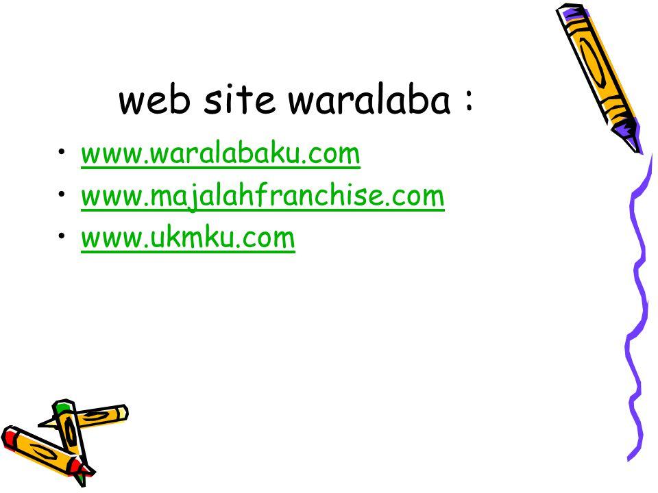 web site waralaba : www.waralabaku.com www.majalahfranchise.com