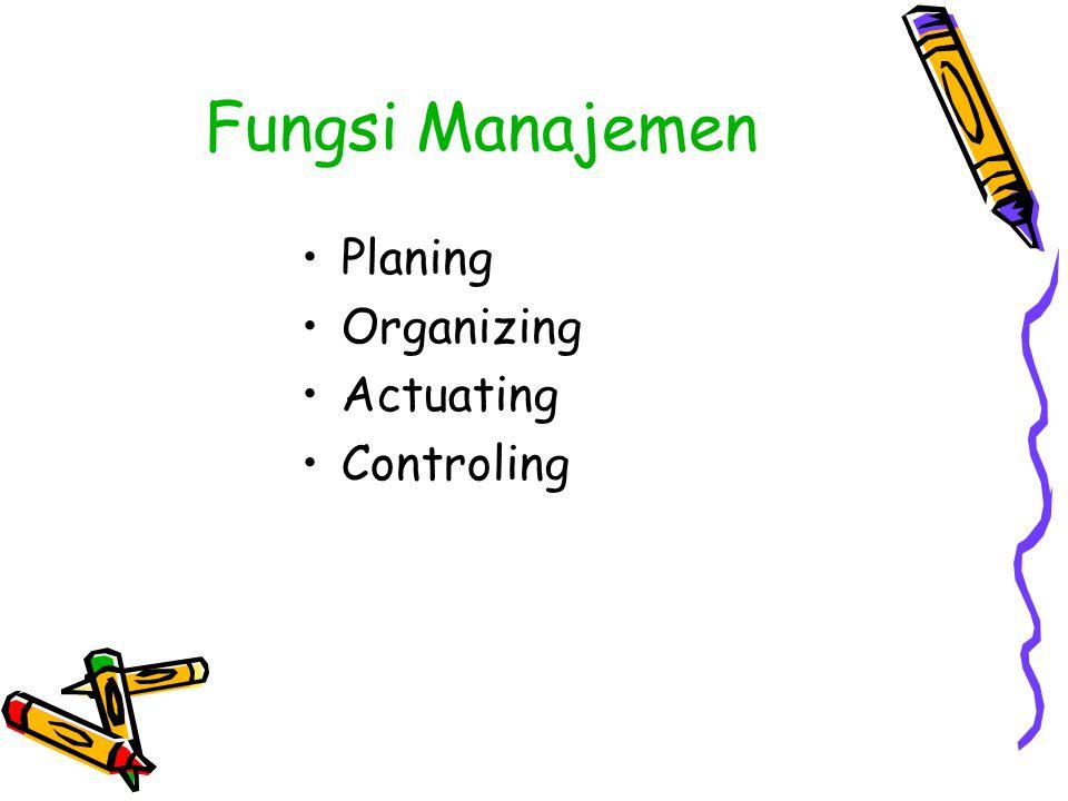 Fungsi Manajemen Planing Organizing Actuating Controling