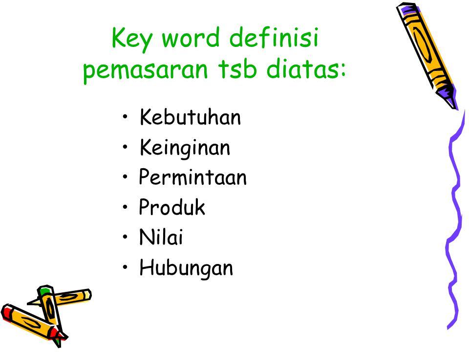 Key word definisi pemasaran tsb diatas: