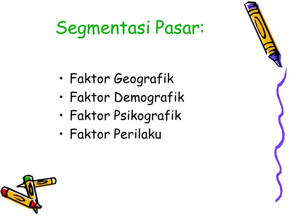 Segmentasi Pasar: Faktor Geografik Faktor Demografik