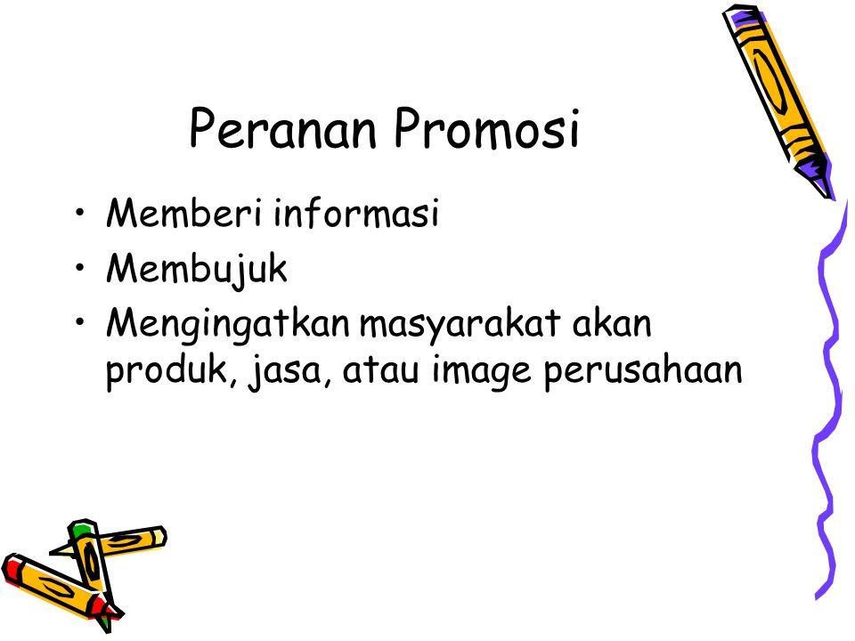Peranan Promosi Memberi informasi Membujuk