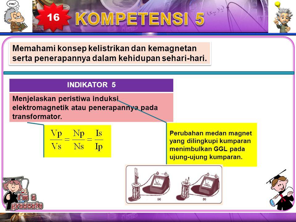 16 KOMPETENSI 5. Memahami konsep kelistrikan dan kemagnetan serta penerapannya dalam kehidupan sehari-hari.