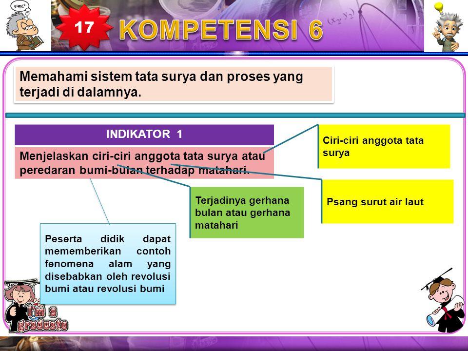 17 KOMPETENSI 6. Memahami sistem tata surya dan proses yang terjadi di dalamnya. INDIKATOR 1. Menjelaskan ciri-ciri anggota tata surya atau.