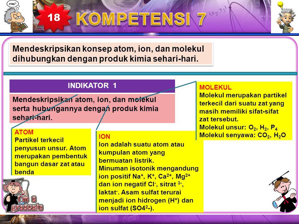 18 KOMPETENSI 7. Mendeskripsikan konsep atom, ion, dan molekul dihubungkan dengan produk kimia sehari-hari.