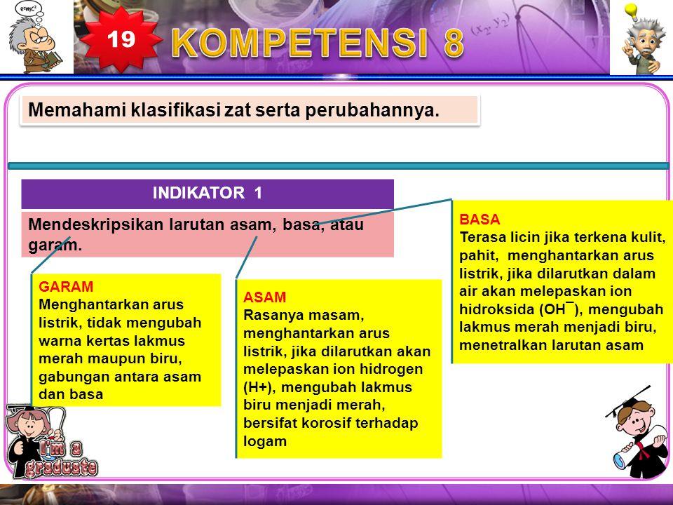 KOMPETENSI 8 19 Memahami klasifikasi zat serta perubahannya.