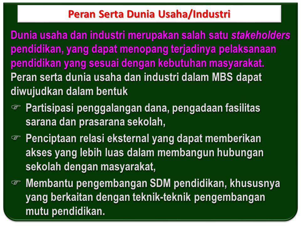Peran Serta Dunia Usaha/Industri