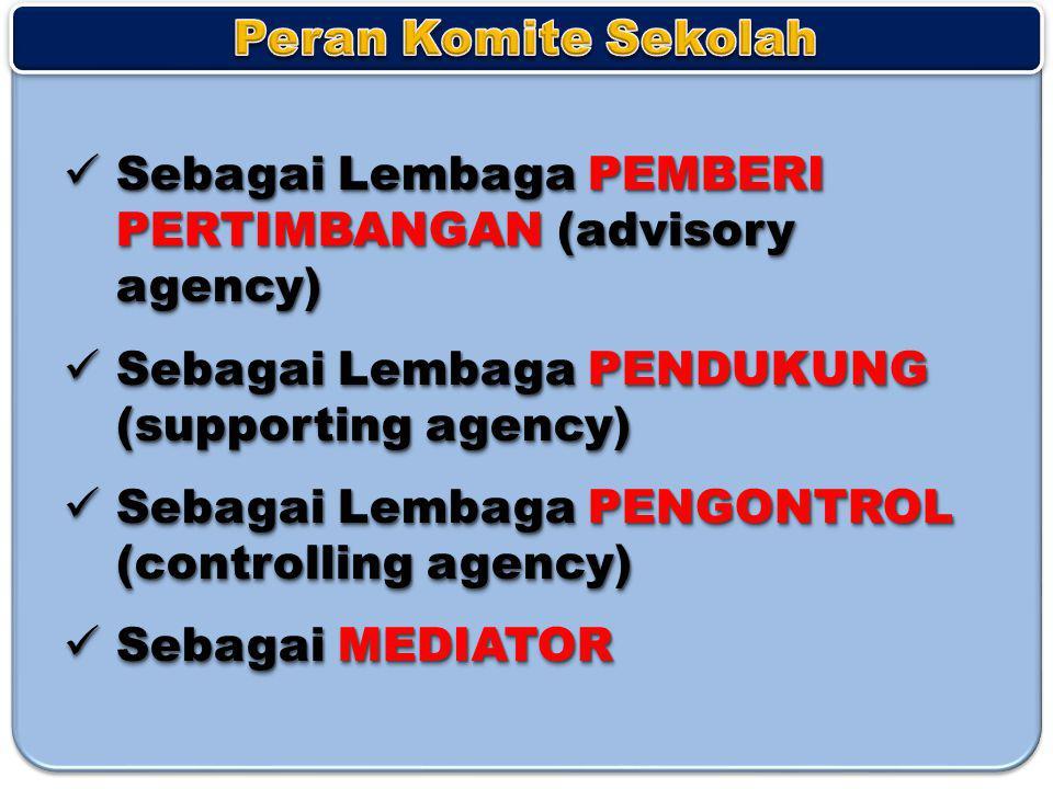 Peran Komite Sekolah Sebagai Lembaga PEMBERI PERTIMBANGAN (advisory agency) Sebagai Lembaga PENDUKUNG (supporting agency)