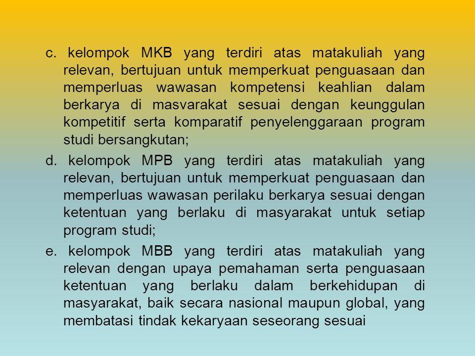 c. kelompok MKB yang terdiri atas matakuliah yang relevan, bertujuan untuk memperkuat penguasaan dan memperluas wawasan kompetensi keahlian dalam berkarya di masvarakat sesuai dengan keunggulan kompetitif serta komparatif penyelenggaraan program studi bersangkutan;