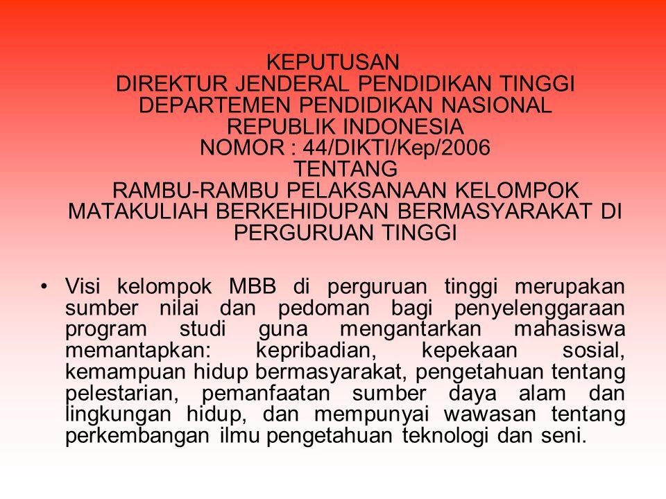 KEPUTUSAN DIREKTUR JENDERAL PENDIDIKAN TINGGI DEPARTEMEN PENDIDIKAN NASIONAL REPUBLIK INDONESIA NOMOR : 44/DIKTI/Kep/2006 TENTANG RAMBU-RAMBU PELAKSANAAN KELOMPOK MATAKULIAH BERKEHIDUPAN BERMASYARAKAT DI PERGURUAN TINGGI