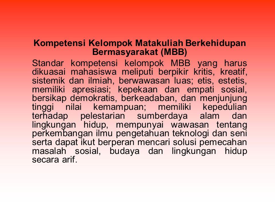 Kompetensi Kelompok Matakuliah Berkehidupan Bermasyarakat (MBB)