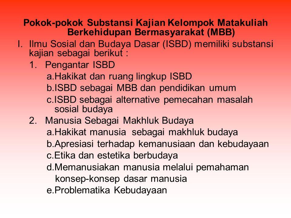 Pokok-pokok Substansi Kajian Kelompok Matakuliah Berkehidupan Bermasyarakat (MBB)