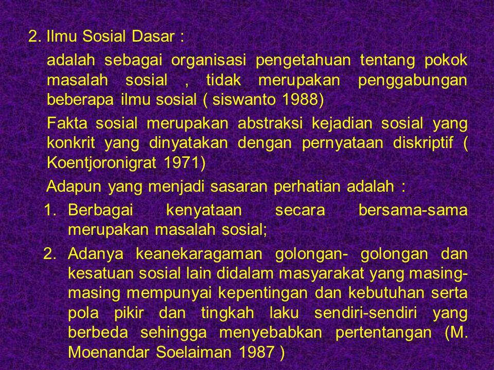 2. Ilmu Sosial Dasar :