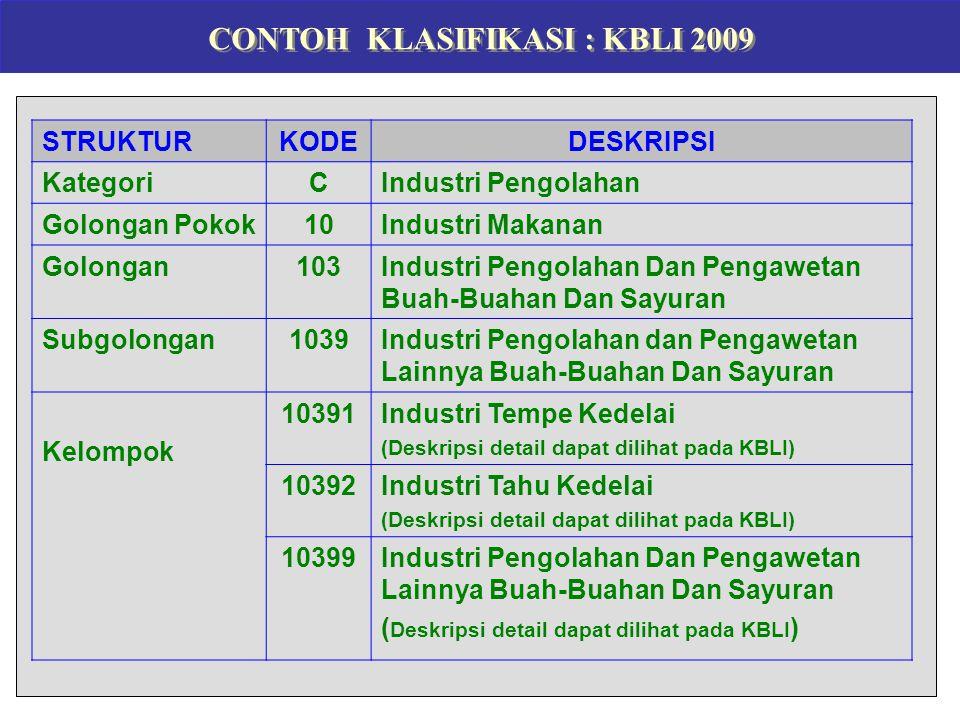 CONTOH KLASIFIKASI : KBLI 2009