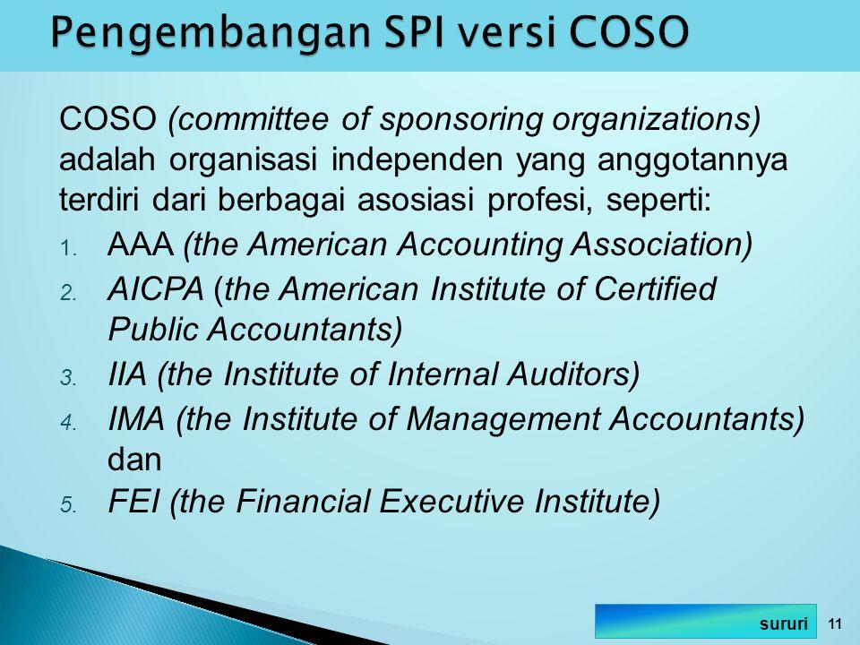 Pengembangan SPI versi COSO