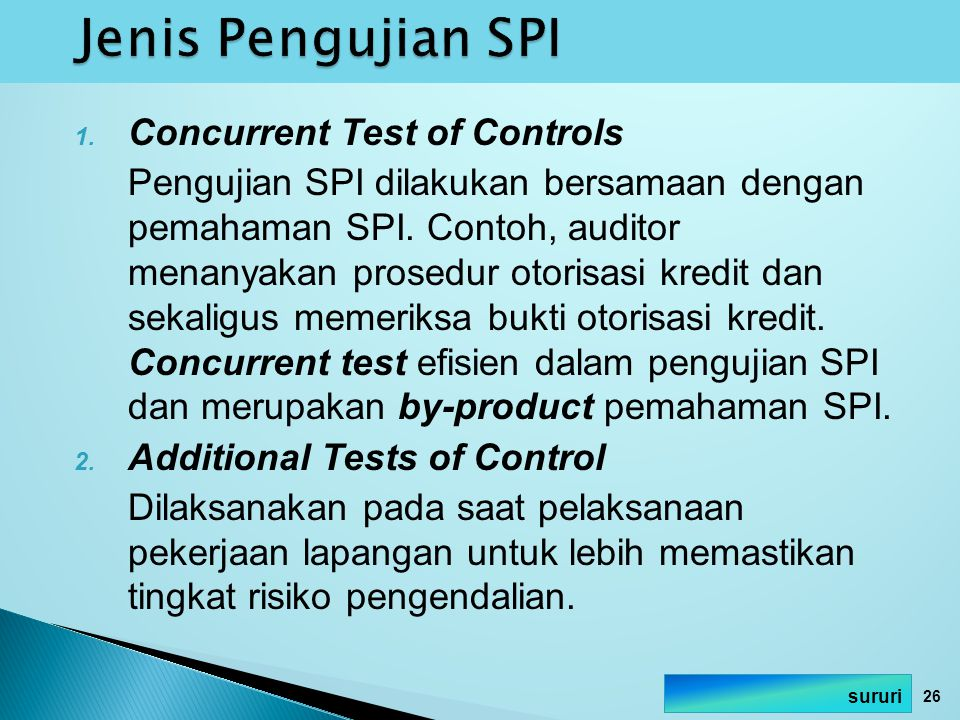Jenis Pengujian SPI Concurrent Test of Controls