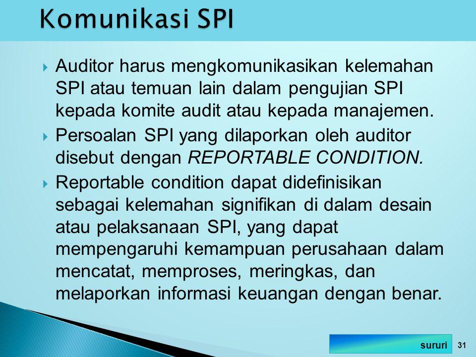 Komunikasi SPI Auditor harus mengkomunikasikan kelemahan SPI atau temuan lain dalam pengujian SPI kepada komite audit atau kepada manajemen.
