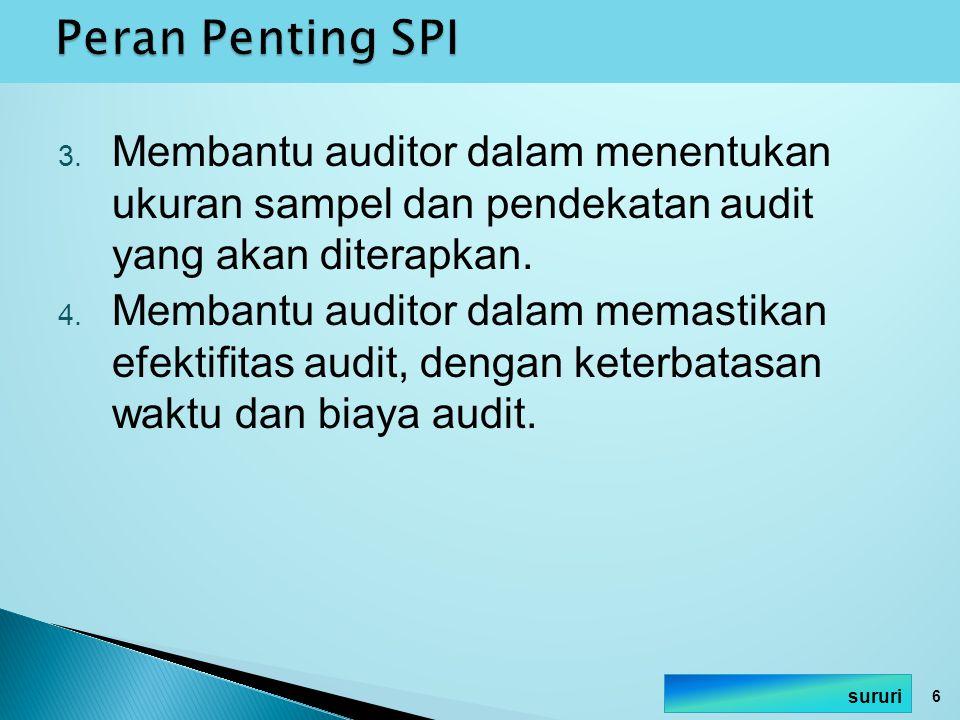 Peran Penting SPI Membantu auditor dalam menentukan ukuran sampel dan pendekatan audit yang akan diterapkan.