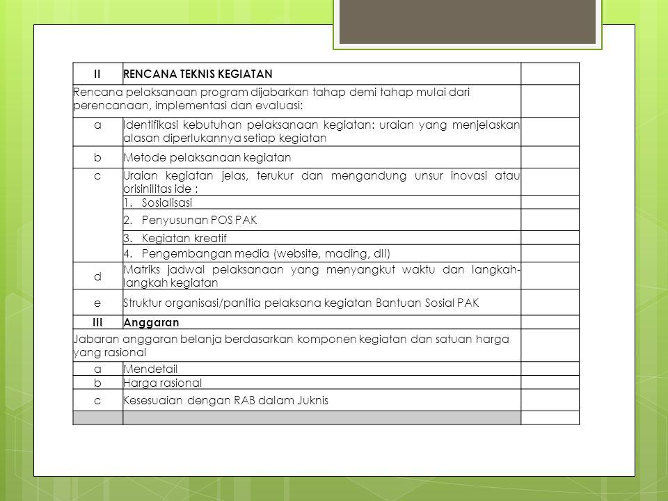 II RENCANA TEKNIS KEGIATAN. Rencana pelaksanaan program dijabarkan tahap demi tahap mulai dari perencanaan, implementasi dan evaluasi: