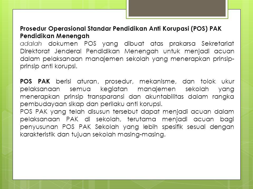 Prosedur Operasional Standar Pendidikan Anti Korupasi (POS) PAK